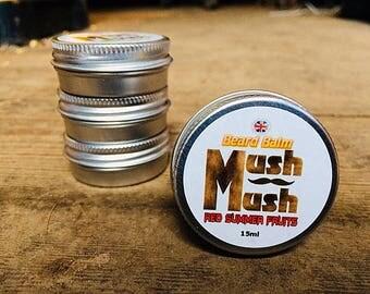 Mush Mush Red Summer Fruits Beard Balm - Beard Care - Beard Softener - Natural Men's Hair Care Products - Leave in Beard Taming Styling