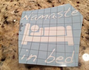 """Sticker """"Namaste in Bed"""" 5"""" x 5"""""""