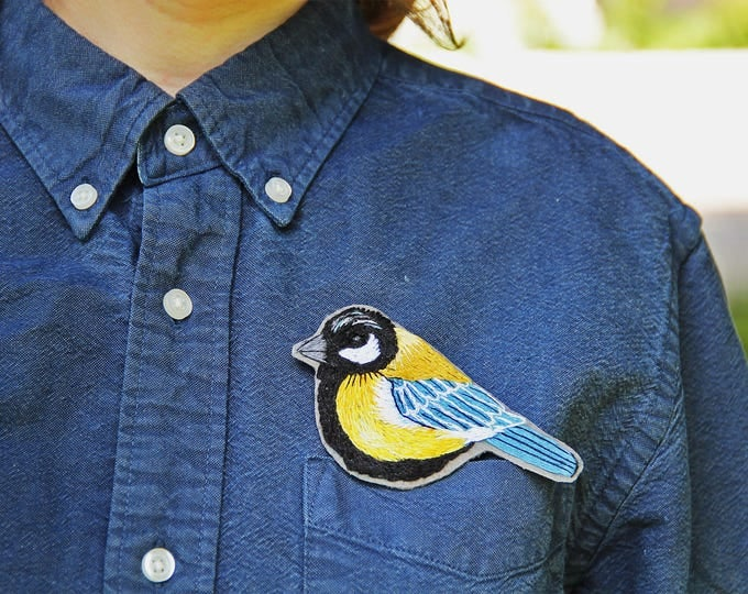 Woodland Jewelry Yoga Boho Bird Brooch Pin Embroidered Bird lover gift Nature Anniversary Jewelry Personalized Gift Mom Daughter From