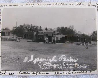 Spanish Peaks Cottages Postcard Walsenburg Colorado Real Photo Photograph RPPC Free Shipping Tourist Motel