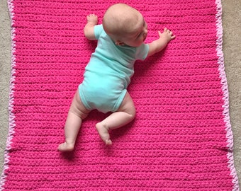 Soft crochet baby blanket-hot pink