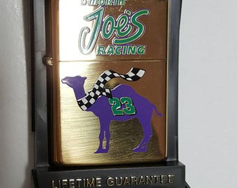 1996 Brass Camel Powered Smokin Joe's Racing Zippo Lighter Sealed!