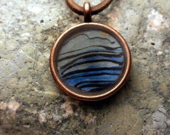hand painted pendant necklace the sea