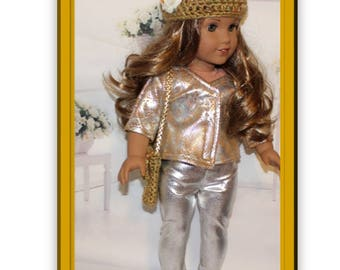 "6 Piece Set. Fits like American Girl Clothes. Silver & Gold.  Jacket, Pants, Hat, Purse and Silver Shoes.  Handmade 18"" doll clothes."