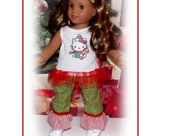 "18"" Doll Clothes. Kitty Cat Christmas Top and Candy Cane Bottoms.  Christmas Pajamas. Fits 18"" dolls the size of American Girl"