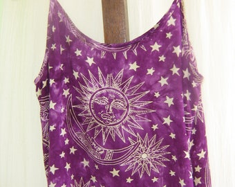 Summer Hippie Top with Sun, Moon & Stars - Free Size - Rayon