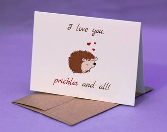 I Love You Hedgehog Card - Love Greeting Card - Valentine's Card - Love Card - Hedgehog Card
