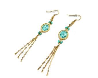 """Boucles d'Oreilles Tamara Blue and Pink : boucles pendantes, chevron et cabochon, bijou délicat, illustration plante grasse """"Echeveria"""""""