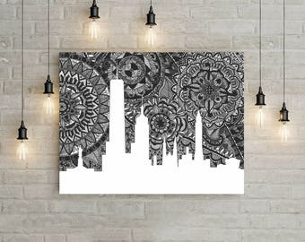 New York, USA, Poster, Skyline, Art, Print, Digital Illustration, Home Decore, Black and White, Doodle, Zentengle, Gift, Empire State