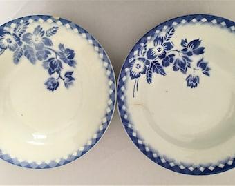 pair of ceramic soup plates vintage digoin sarreguemines 40s