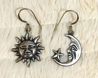 Vintage 1980s Mismatched Pewter Sun and Moon Earrings