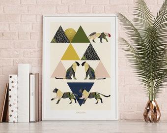 Modern wall print, room decor, triangle art, original art, gallery wall prints, nature prints, scandinavian art, home decor wall art, art