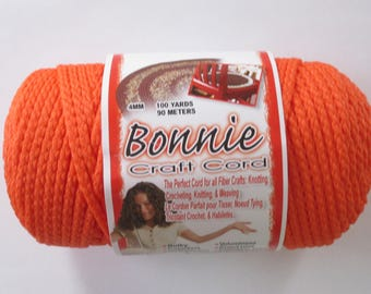 Bonnie Macrame Craft Cord 4mm 100 Yards Orange