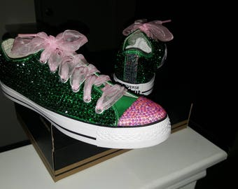 AKA inspired pink and green bling rhinestone sneaker