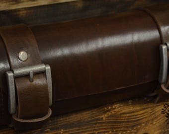 Handmade Leather Tool Roll Darkbrown