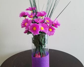Flower Arrangment, Centerpiece, Spring Flowers, Summer Flowers, Daisy, Purple Flowers, Table Centerpiece