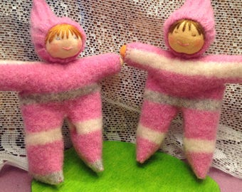 Pink Striped Walking Finger Puppets