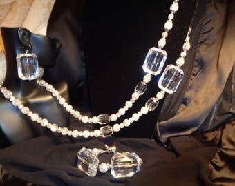 Glass Beads with clear Acrylic Octagons.