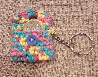 Hand crocheted petite purse keyring