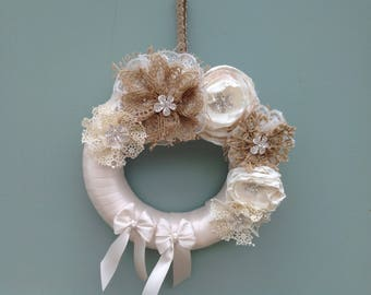 Satin covered wedding wreath, decorated with hessian and satin handmade flowers.
