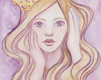 Print A4 Beauty Queen Watercolor Paint