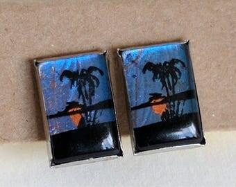 Bohemian Vintage Butterfly Wing Morpho Clip On Earrings | Vintage Earrings | Tropical | Palm Tree | Boho Fashion