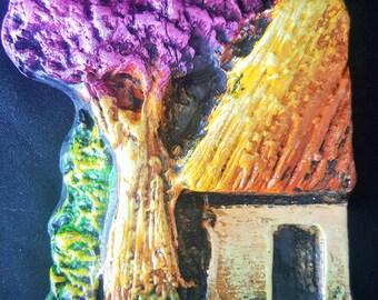 Ceramic Wall hanging little house and tree, House decoration, Handmade. Artesanía Paraguaya
