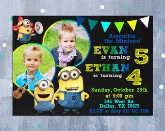 Minion Sibling Boys Invitation, Minion Birthday Invitation, Minion Joint Party, Despicable Me Twins Triplets Invite, Personalized JPEG
