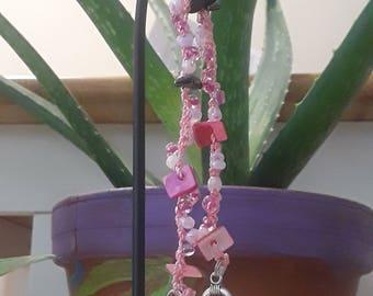 Pink Crochet Tennis Bracelet