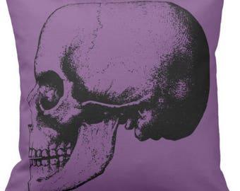 Skull Pillow - Reborn - Purple Skull Pillows wrinkle free