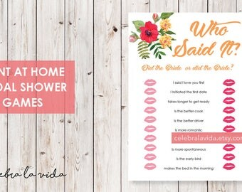 Who Said It? Bride or Bride Version. Bridal Shower Game. Instant Download. Printable Bridal Shower Game. Yellow Flowers. Red and Orange - 02