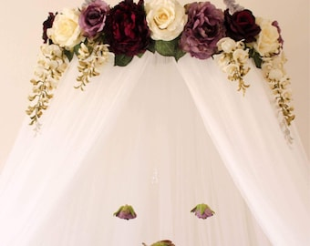Serene Floral Purple and White Flower Crib or Bed Canopy Crown With Hanging Crystals and Roses Baby Shower Decoration or Gift Nursery Decor