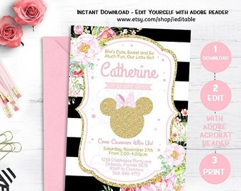 25% OFF SALE Pink & Gold Minnie Mouse Birthday Invitation Invite, Girls Birthday Floral Flowers, Editable Invitation Template Instant downlo