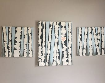 White Birch Tree 3-Pamel Canvas Wall Decor with Initals