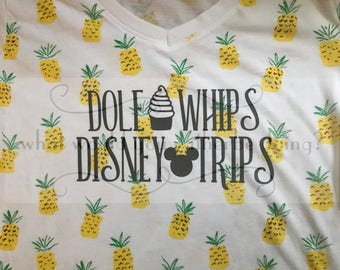 Disney Dole Whips Disney Trips pineapple tee t-shirt womens Disney World Disneyland