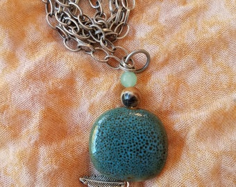 Ceramic and Stone pendant necklace with feather charm