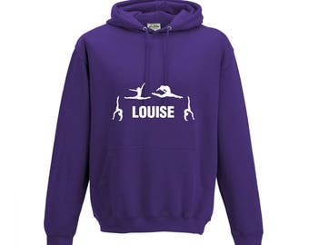 iLeisure Girls Personalised Four Gymnastics Poses Dance Hooded Top with White Print