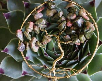 Tree of Life Dangle Pendant-Healing Crystal- Crystal Healing- Boho/ Indie Style- Fun Gifts- Wearable Art- Vintage Inspired-Unakite