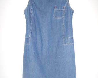 BENTLEY vintage women's sleeveless denim jean dress size 14