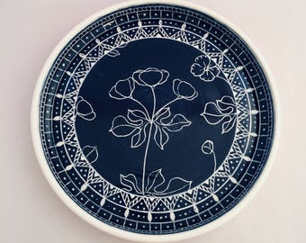 Hand Thrown Floral Pottery Rimmed Plate