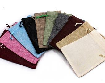 10x Drawstring Burlap Bag 10-Colors Random Mixed Natural 13x18cm Linen Pouch Jute Sack Jewelry Gift A1909