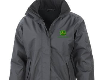 Black John Deere Embroided Core Jacket StormDri Fleece Lined Tractor Farmer
