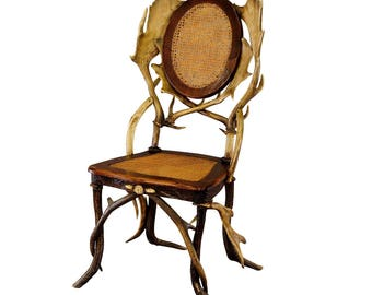 antique cabin decor antler parlor chair ca. 1900