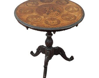 wonderful carved marquetry table swiss brienz 1900