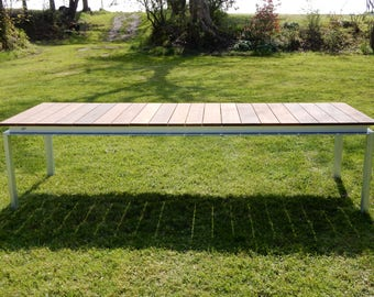 XXL garden table: galvanized steel frame with wood ash, Brown