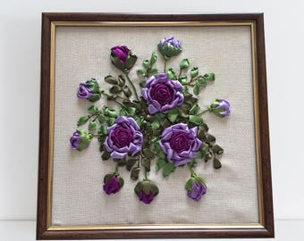 Ribbon Emroidery. Completed. Handmade. Handicraft. Flowers