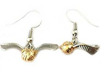 Harry Potter Golden Snitch Logo Dangle Earrings in Gift Box