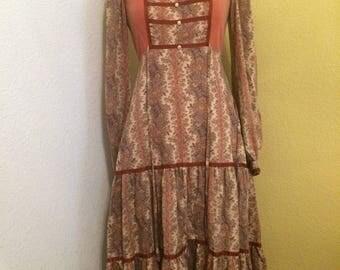 Vintage 70s Gunne Sax Edwardian Prairie Velvet Dress