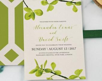 Printable Green Leaves Wedding Invitation, Forest Wedding Invitation, Garden Wedding, Green Wedding, Wedding Invitation