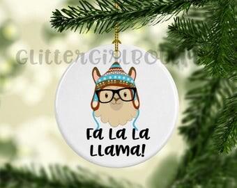 Llama Ornament, Custom Ornament, Personalized Ornament, Fa La La Llama Ornament, Porcelain Ornament, Animal Ornament   Ornament